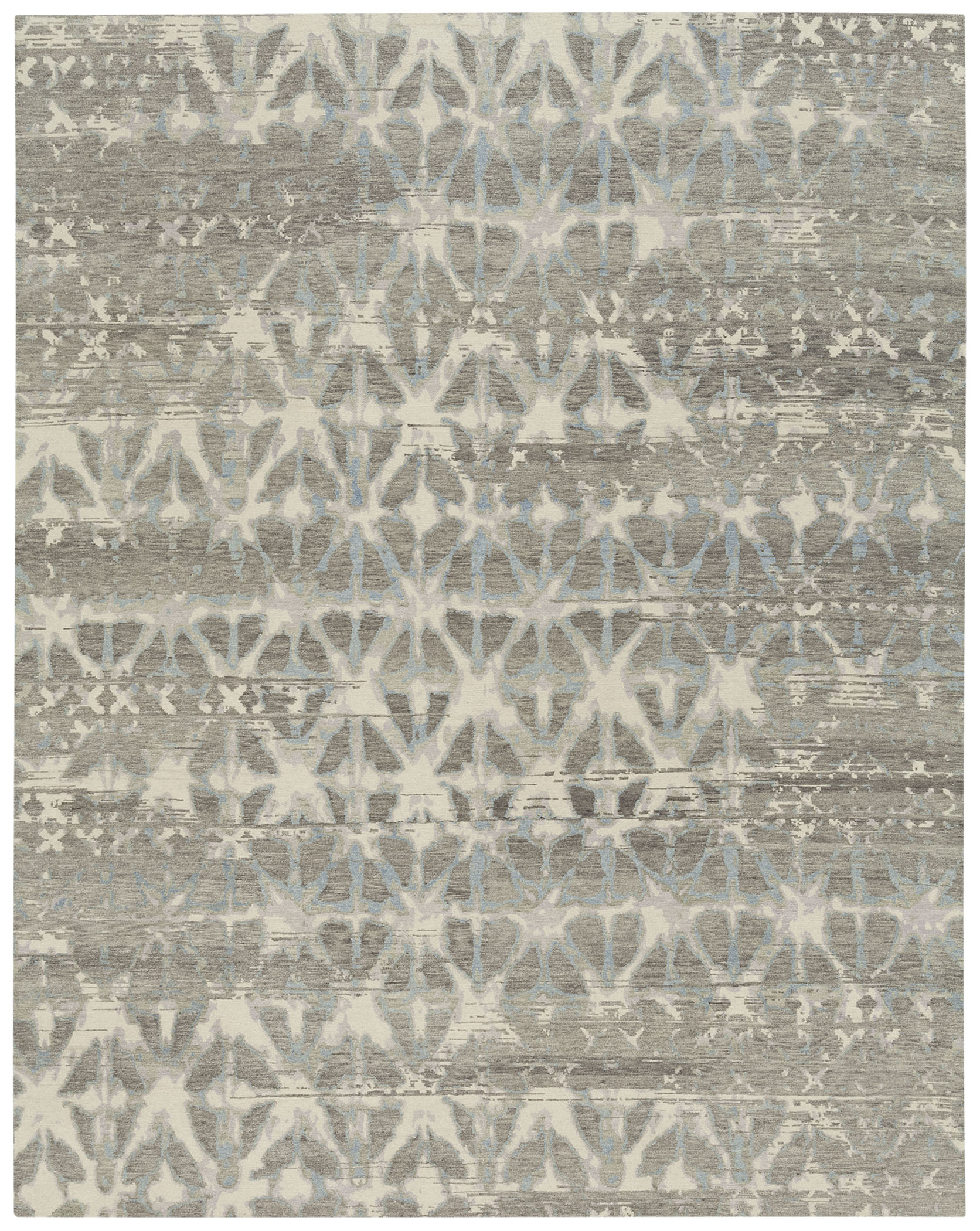 Transitional hand-knotted area rug in all-over grey pattern.