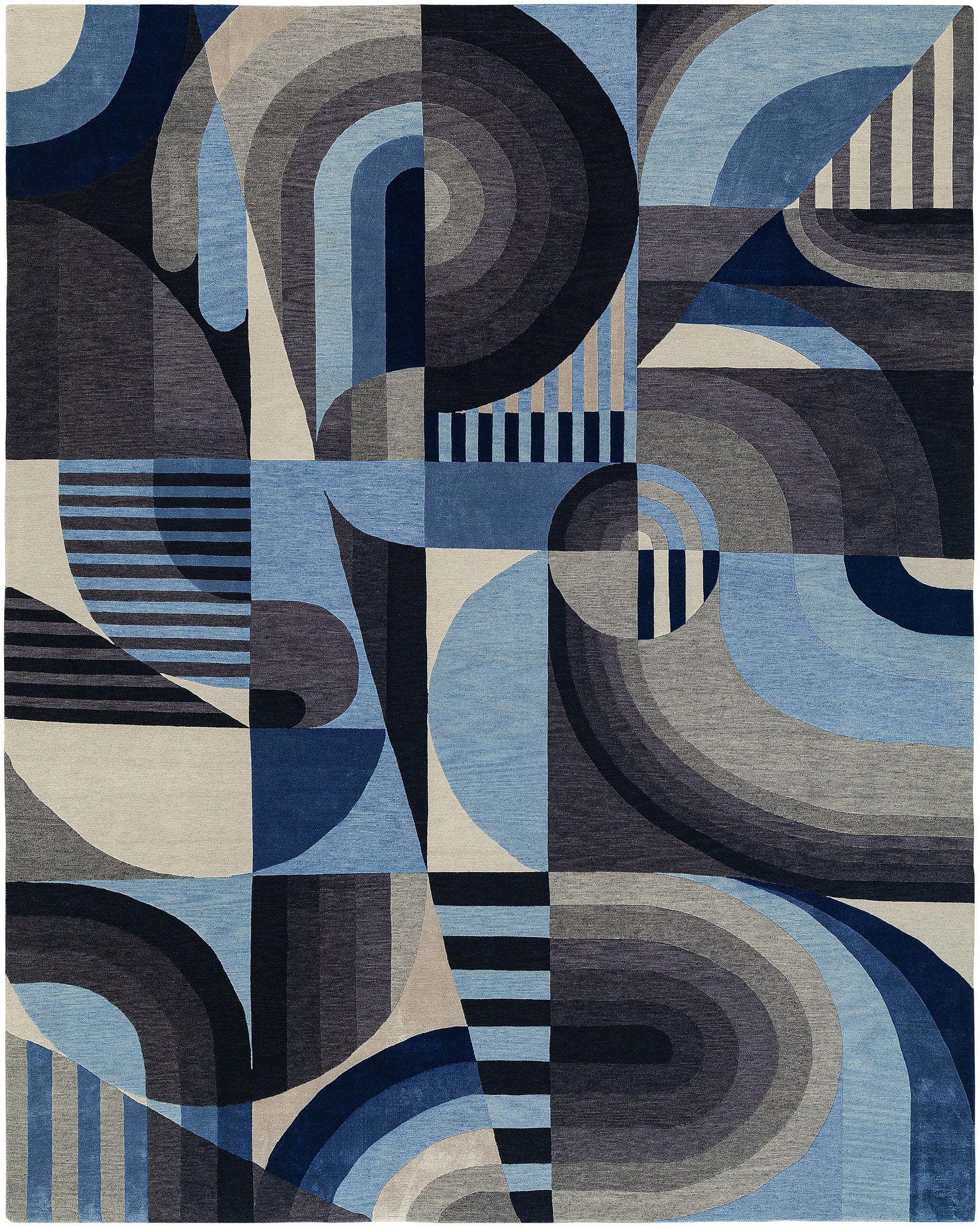 Hand-knotted rug in deep blue Picasso-like abstract design