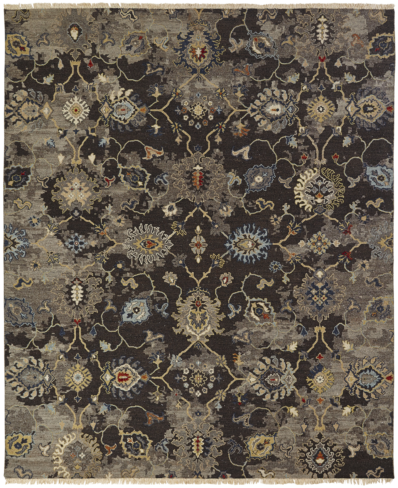 Hand-knotted area rug with black background & vine pattern.