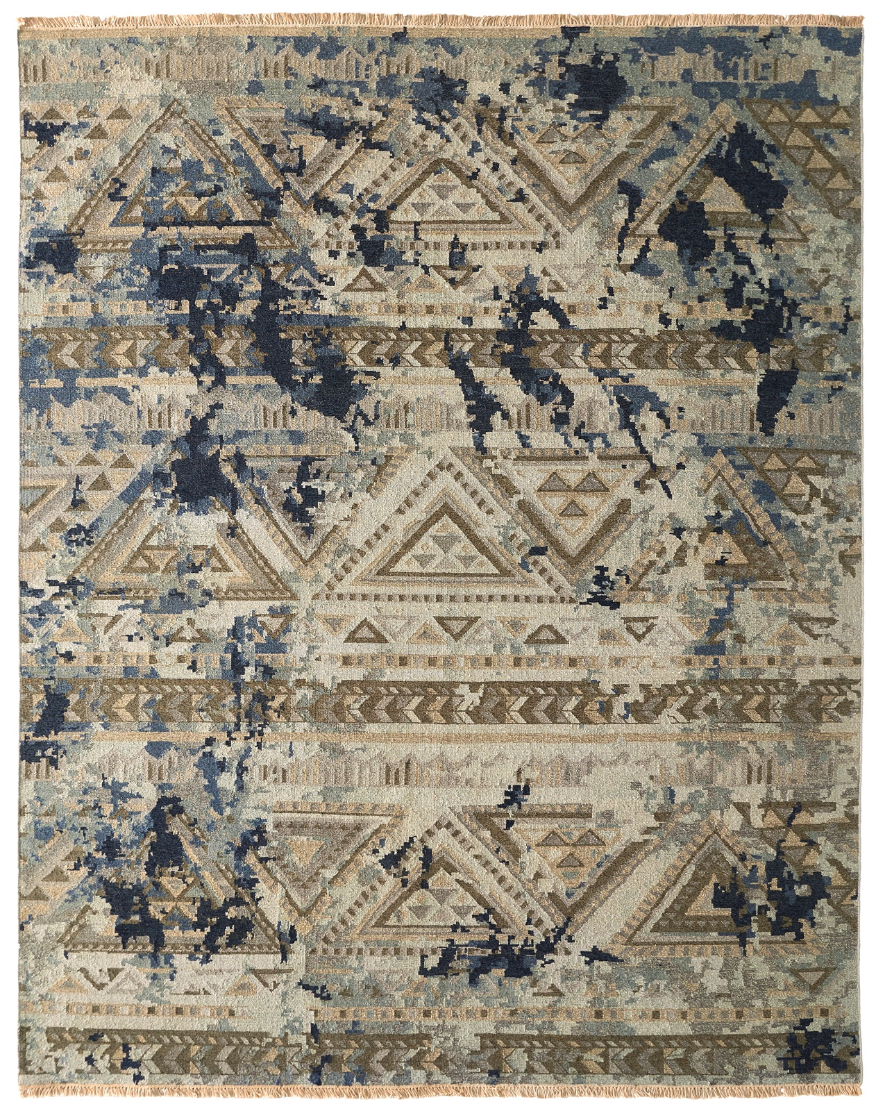 Transitional hand-knotted area rug with black mock stressing