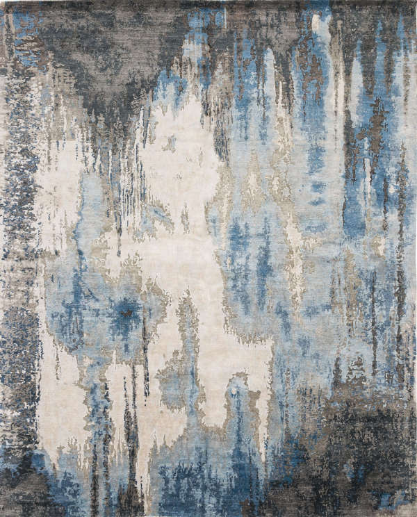 9x12 hand-knotted, wool rug in blue/steel