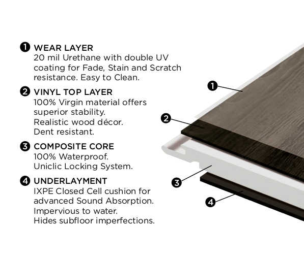 Diagram pointing to features of LVT