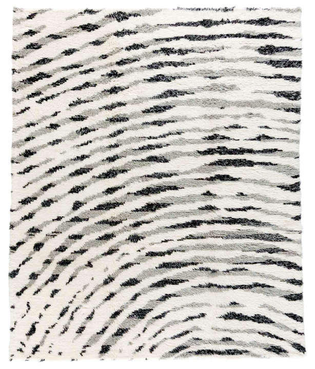 Modern Moroccan rug with finger print design