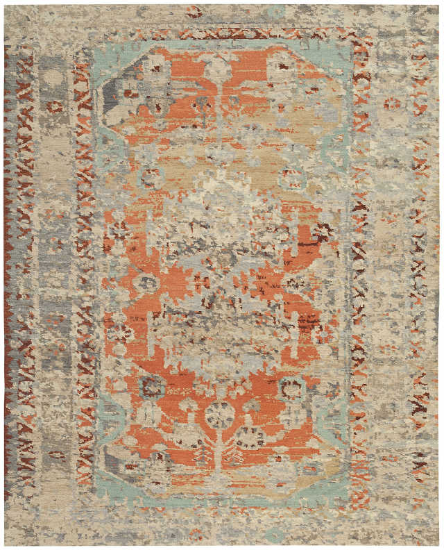 Hand-knotted rug, transitional with red