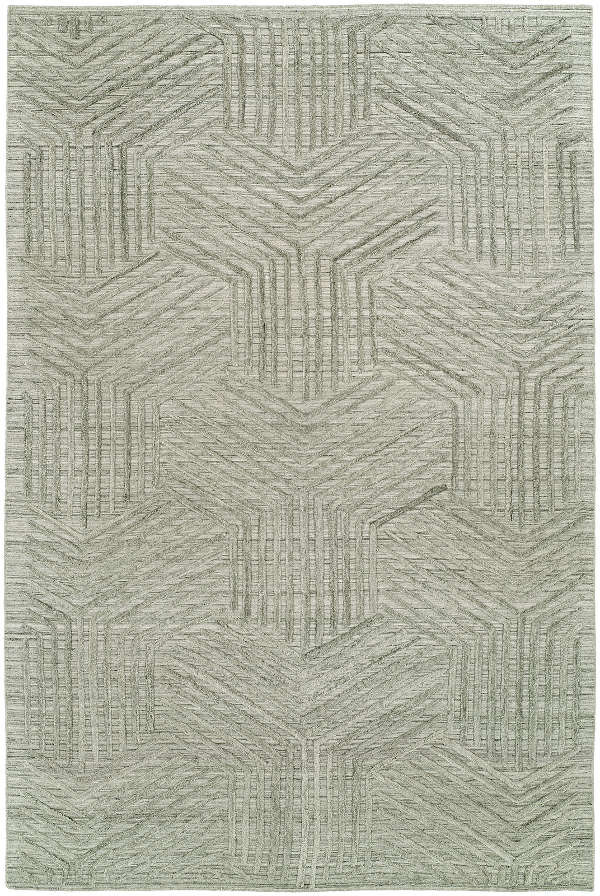Machined rug with man-made fibers.