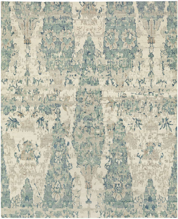 Handknotted rug in jade 9x12