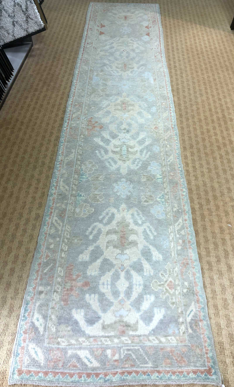 Turkish Oushak Runner  Size: 3' x 14'4 hand-knotted area rug