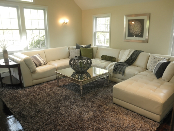 Family room with carpet