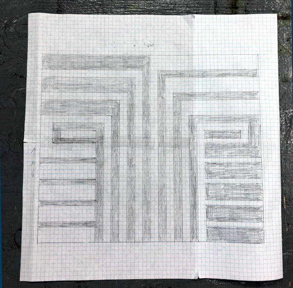 Scale working drawing of fabricated custom rug