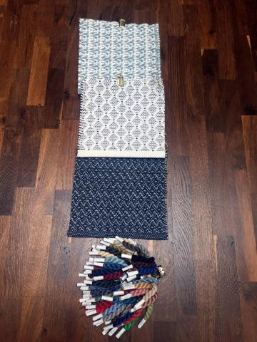 Samples of indoor/outdoor carpeting with yarn samples.