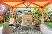 Outdoor carpet under colorful shelter