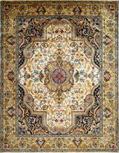 Hand-knotted rug traditional design in blue-ivory