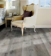 Wing chair on LVT plank
