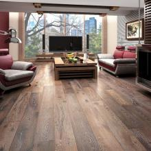 Beautiful wood flooring with a cityscape in the window