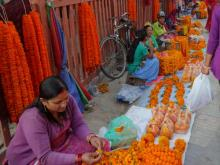 Nepalese women prepare for the Dashain Festival