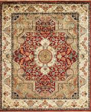Beautiful traditional rug with red medallion