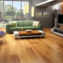Wide plank wooden floor in light oak