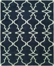 Black rug with all-over pattern in white