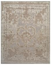 Rug in light blue and gray with suggestion of a pattern