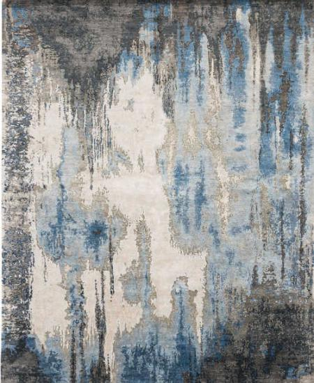 Caverns blue steel wool/faux silk hand-knotted rug