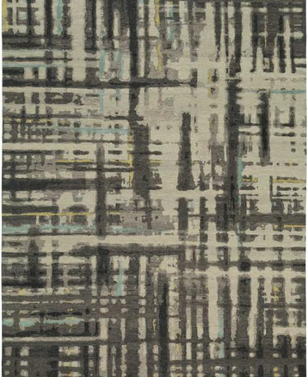 Hand knotted wool rug Perception TK Charcoal Flame
