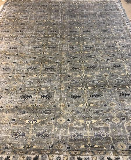 "Hand-knotted Viscose 8'11"" x 11'8""  Grey Rug"