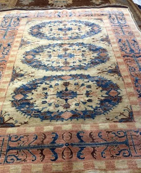 20-MEDALLION PAKISTAN MEDALLION COLOR GOLD AND BLUE SIZE 6'7 X 7'10 RUG