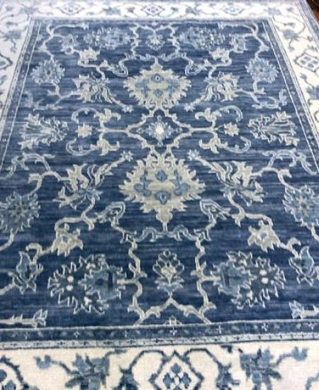 Blue ivory hand knoted rug 8x10. Gorgeous!
