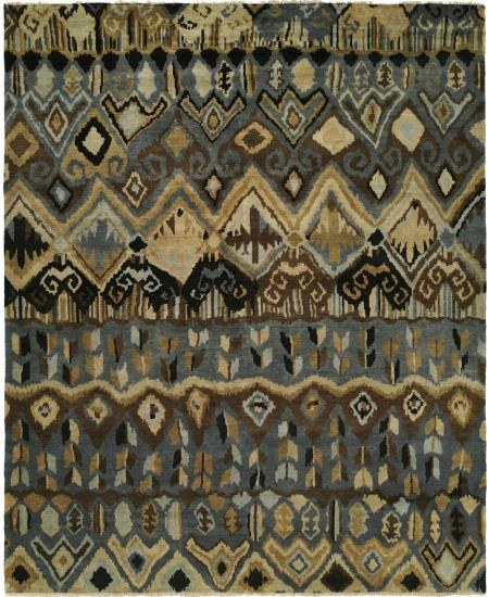 Hand-knotted rug in dark and light greys in tribal style design.