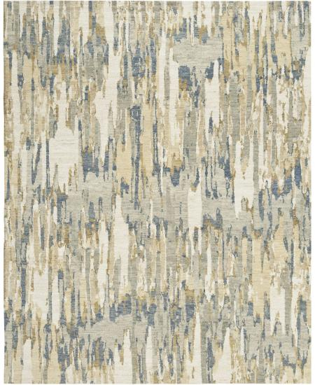 Hand-knotted area rug in abstract liquid blues and greys.