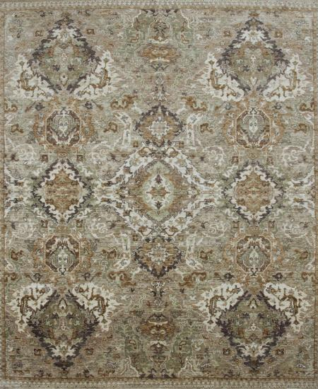 Traditional hand-knotted rug in greys and blacks.