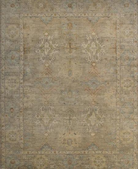 Hand-knotted traditional area rug in taupe.