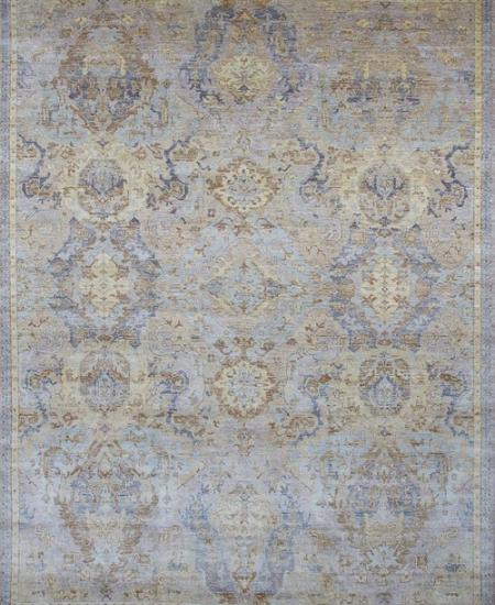 Traditional all-over patterned hand-knotted area rug in blue.