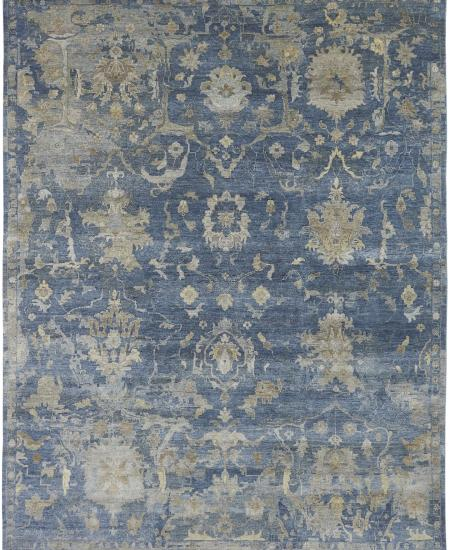 Hand-knotted traditional antiqued blue area rug all-over pattern.
