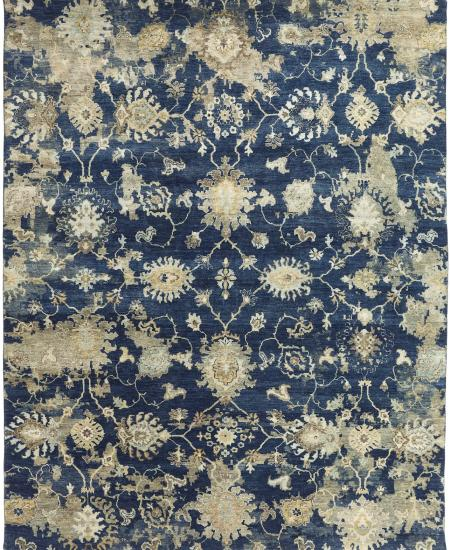 Festive hand-knotted area rug in dark blues with greys.