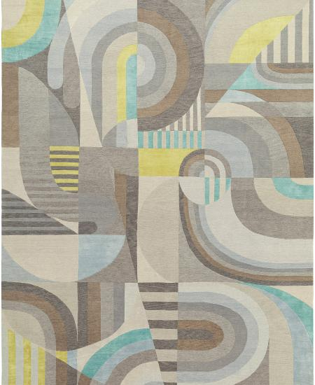 Hand-knotted rug in light blue Picasso-like design.