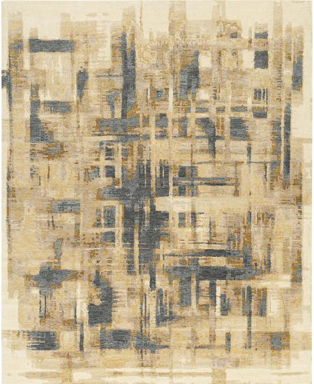 Abstract design on hand-knotted area rug in brown and gray