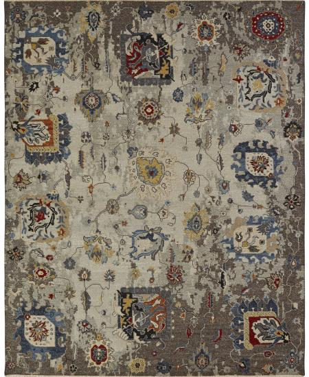 Oushak forms on a dream-blue background - hand-knotted area rug.