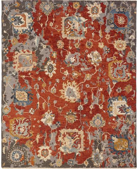 Hand-knotted area rug; floral pattern on red background.