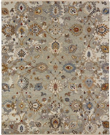 Grey hand-knotted rug with floral design.
