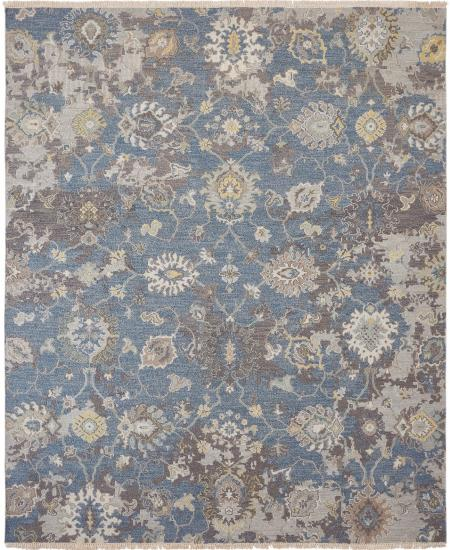 Hand-knotted rug in traditional pattern in blue with greys.