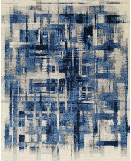 Hand-knotted rug with abstract design - blue.
