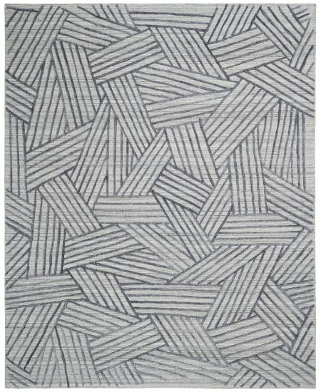 Hand-knotted area rug in abstract weaving pattern in grey and black.