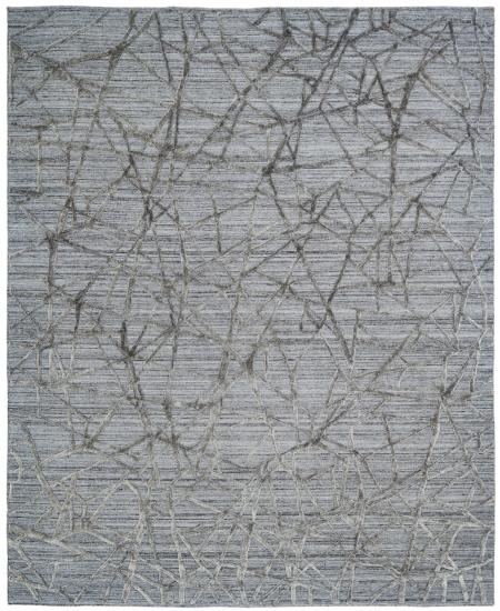 Abstract hand-knotted rug in greys, blacks and ivory.