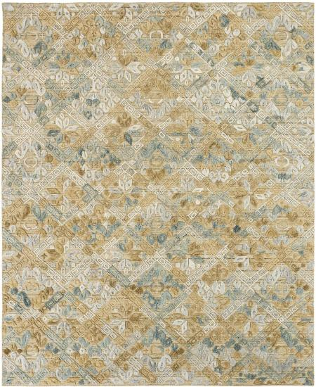 Hand-knotted area rug with geometric pattern in greys, blues and browns.