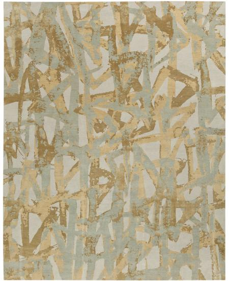 Hand-knotted area rug, abstract nature pattern, greys and browns.
