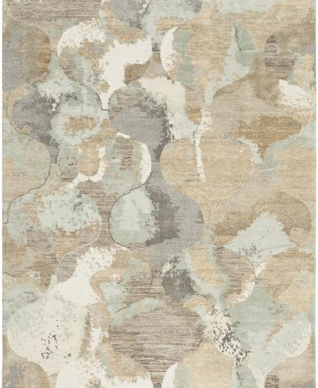 Hand-knotted area rug in all over abstract light blue and grey pattern.