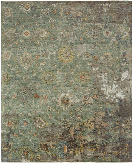 Transitional hand-knotted rug; transitional Oushak in green.