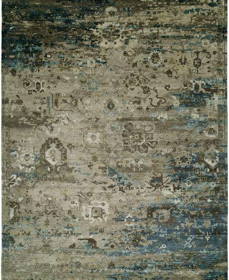 Hand-knotted area rug, brown with Oushak elements.