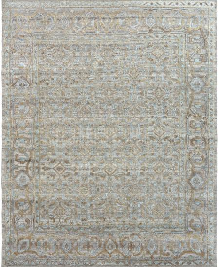 Traditional hand-knotted area rug in light brown.
